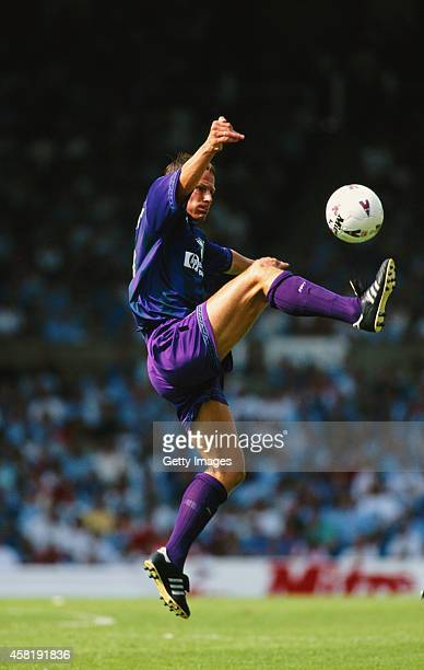 Spurs striker Teddy Sheringham in action during an FA Premier League match between Manchester City and Tottenham Hotspur at Maine Road on August 19...