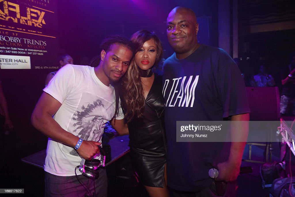 DJ Spynfo, Eve and Mister Cee attend Girls Night Out Hosted by Eve at Webster Hall on May 9, 2013 in New York City.