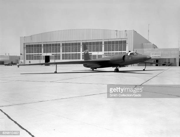 U2 spyplane on tarmac in front of a hangar building 1960 Image courtesy NASA