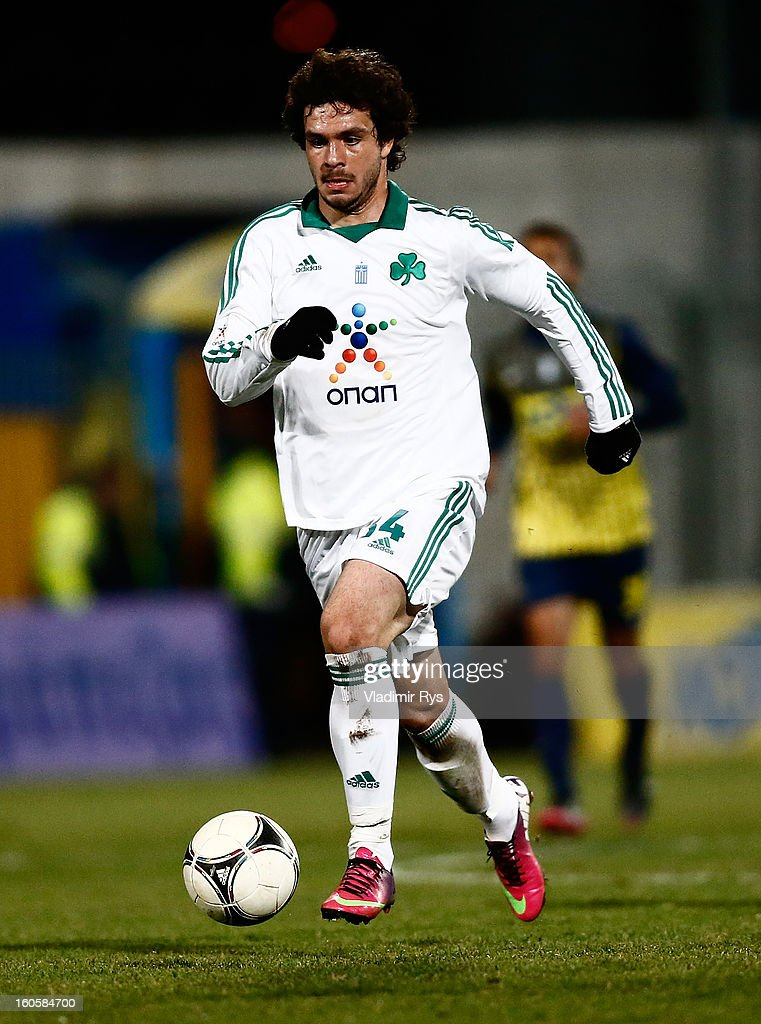 Spyros Fourlanos of Panathinaikos in action during the Superleague match between Asteras Tripolis and Panathinaikos FC at Asteras Tripolis Stadium on February 2, 2013 in Tripolis, Greece.