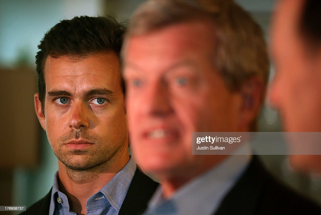 Sqaure CEO <a gi-track='captionPersonalityLinkClicked' href=/galleries/search?phrase=Jack+Dorsey&family=editorial&specificpeople=5818892 ng-click='$event.stopPropagation()'>Jack Dorsey</a> (L) looks on as Senate Finance Committee Chairman <a gi-track='captionPersonalityLinkClicked' href=/galleries/search?phrase=Max+Baucus&family=editorial&specificpeople=242972 ng-click='$event.stopPropagation()'>Max Baucus</a> (C) (D-MT) and House Ways and Means Committee Chairman Dave Camp (R) (R-MI) speak to reporters while touring the Square headquarters on August 19, 2013 in San Francisco, California. Senators <a gi-track='captionPersonalityLinkClicked' href=/galleries/search?phrase=Max+Baucus&family=editorial&specificpeople=242972 ng-click='$event.stopPropagation()'>Max Baucus</a> (D-MT) and Dave Camp (R-MI) continued their Tax Reform Tour with a visit to the headquarters of mobile payment company Square. The tour is taking the two senators across the nation to speak to American people about how to fix the nation's broken tax code to benefit families and job creators.