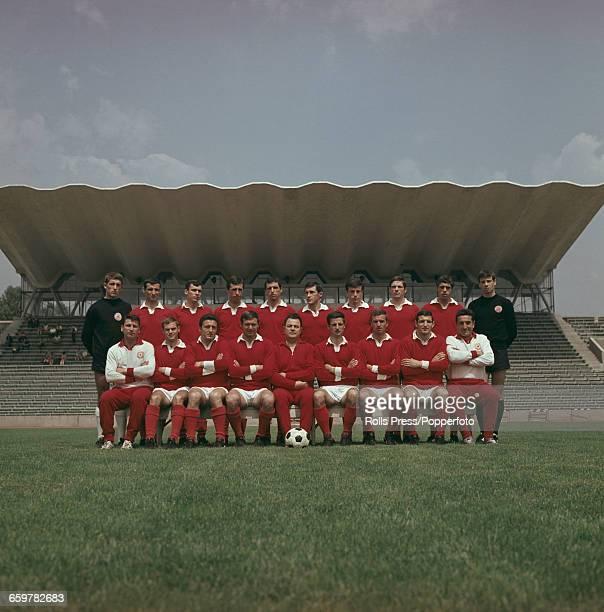 Squad and team members of Bulgarian football club PFC CSKA Sofia league champions of 1969 posed together at the Balgarska Armia Stadium in Sofia...