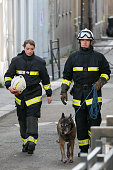 K9 squad of the French police is seen on 'Rue du Corbillon' in SaintDenis on November 18 2015 in SaintDenis France French Police special forces...