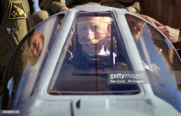 Squadron Leader B G 'Stapme' Stapleton a legendary fighter ace in the RAF during WW2 now 82 in the cockpit of a tornado fighter jet whilst visiting...