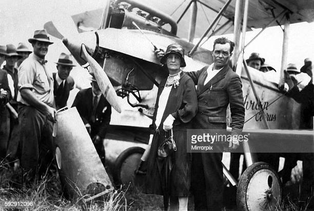 Squadron leader H J L Bert Hinkler standing by his Avro Avian plane at Bundaberg in Queensland Australia Circa 1928 P004293