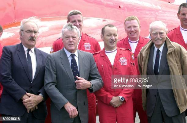 Squadron Leader Spike Jepson known as Red 1 the leader of the Red Arrows Display Team meets members of the original 1965 team including his...
