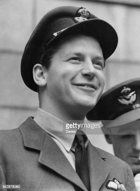 Squadron Leader Tony Bartley DFC of the RAF visits the Ministry of Information as a guest of Air Chief Marshal Sir Hugh Dowding 14th September 1942...