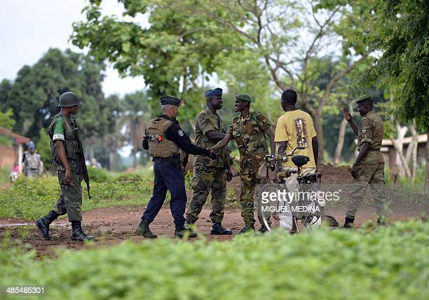 A squadron of the French National Gendarmerie of Versailles incorparated in the 13th Battalion of Chasseurs Alpins part of the Sangaris forces and...