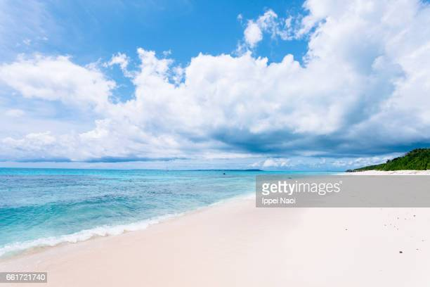 Squall cumulus clouds and tropical beach, Okinawa, Japan