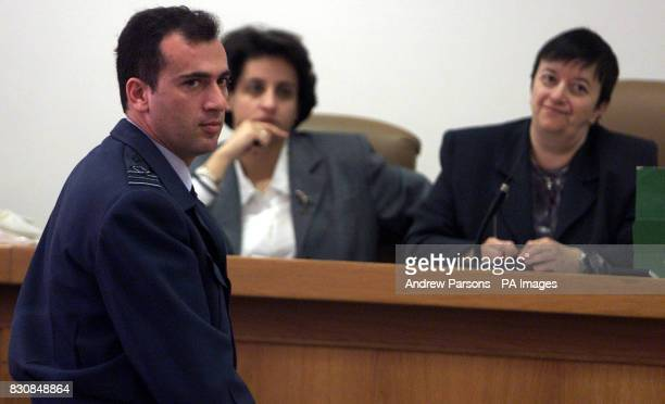 Squardron Leader Nektarios Samaras an officer with the Greek air force gives evidence during the trial in Kalmata Greece of the 12 British...