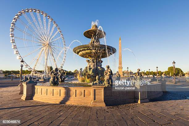 Square Concorde with blue sky in day, Paris