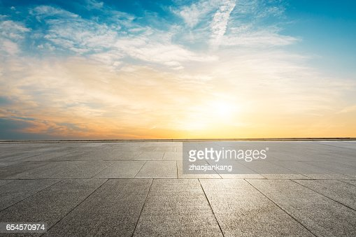 Square floor and sky at sunset : Stock Photo