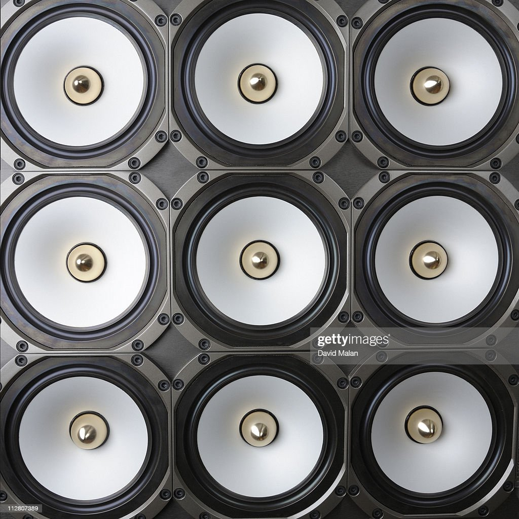 Square grid of loudspeakers : Stock Photo