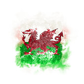 Square grunge flag of wales. 3D illustration