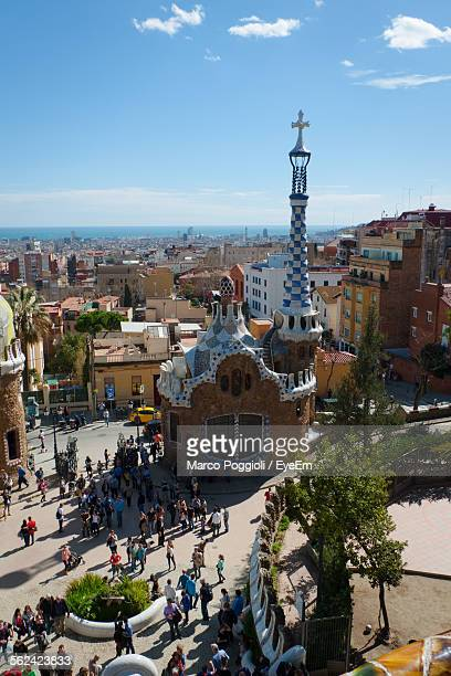 Square In Barcelona Dominated By Church Designed By Antonio Gaudi, Spain