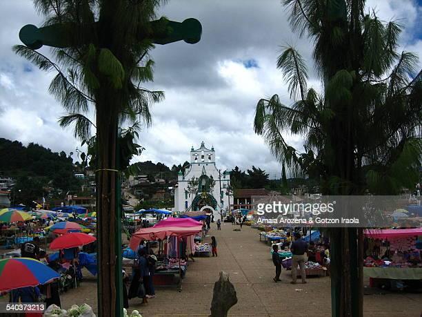 Square market and church of San Juan Chamula