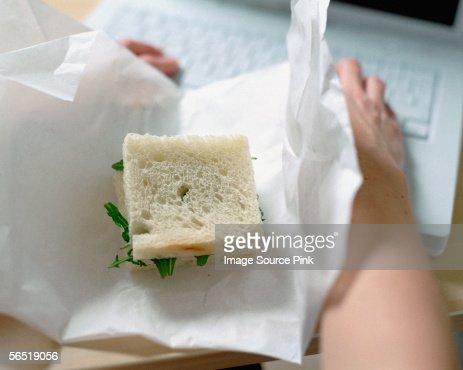 Square sandwich on desk : Stock Photo