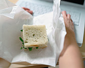 Square sandwich on desk