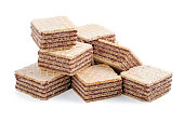 square wafer biscuits isolated on white background