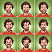squared casual caucasian man with curly hair expression collection