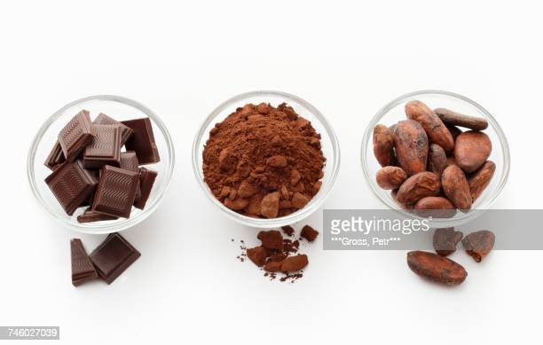 Squares of chocolate, cocoa powder and cocoa beans in glass dishes