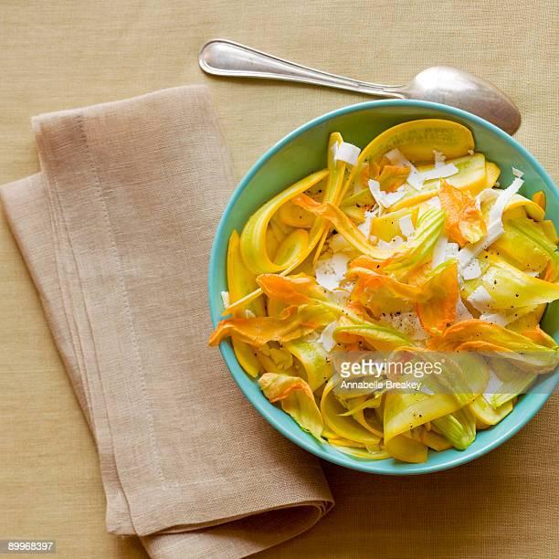 Squash blossom and ricotta salata cheese salad
