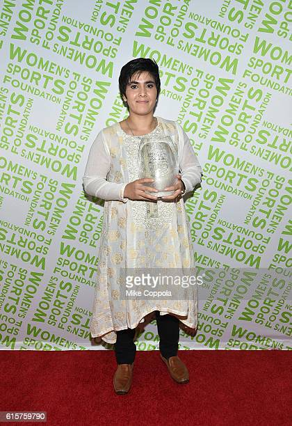 Squash player Maria Toorpakai Wazir poses with her Wilma Rudolph Courage Award at the 37th Annual Salute To Women In Sports Gala at Cipriani Wall...