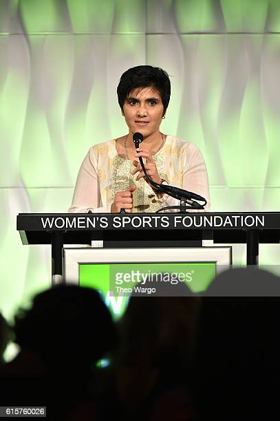 Squash player Maria Toorpakai Wazir speaks on stage as she accepts her Wilma Rudolph Courage Award at the 37th Annual Salute To Women In Sports Gala...