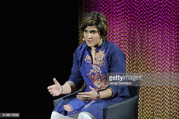 Squash Player Maria Toorpakai Wazir speaks onstage at The Winner during Tina Brown's 7th Annual Women in the World Summit at David H Koch Theater at...