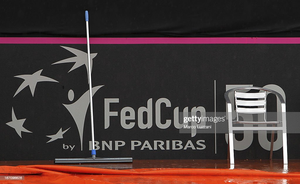 A squeegee rests against the side of the court after a rain storm stopped play during day one of the Fed Cup World Group Play-Offs between Switzerland and Australia at Tennis Club Chiasso on April 20, 2013 in Chiasso, Switzerland.