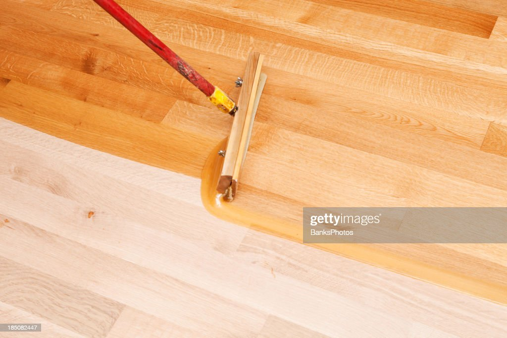 Squeegee Style Brush Applying Clear Polyurethane To Hardwood Floor : Stock  Photo