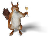 squirrel holding a flute of Champagne