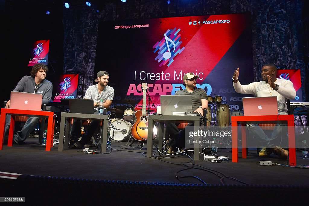 Sr. Audio Engineer, Producer Daniel Rowland, Producer, songwriter Chris DeStefano, producer Andrew Cedar and Harmony Samuels speak onstage at attend the 2016 ASCAP 'I Create Music' EXPO on April 29, 2016 in Los Angeles, California.
