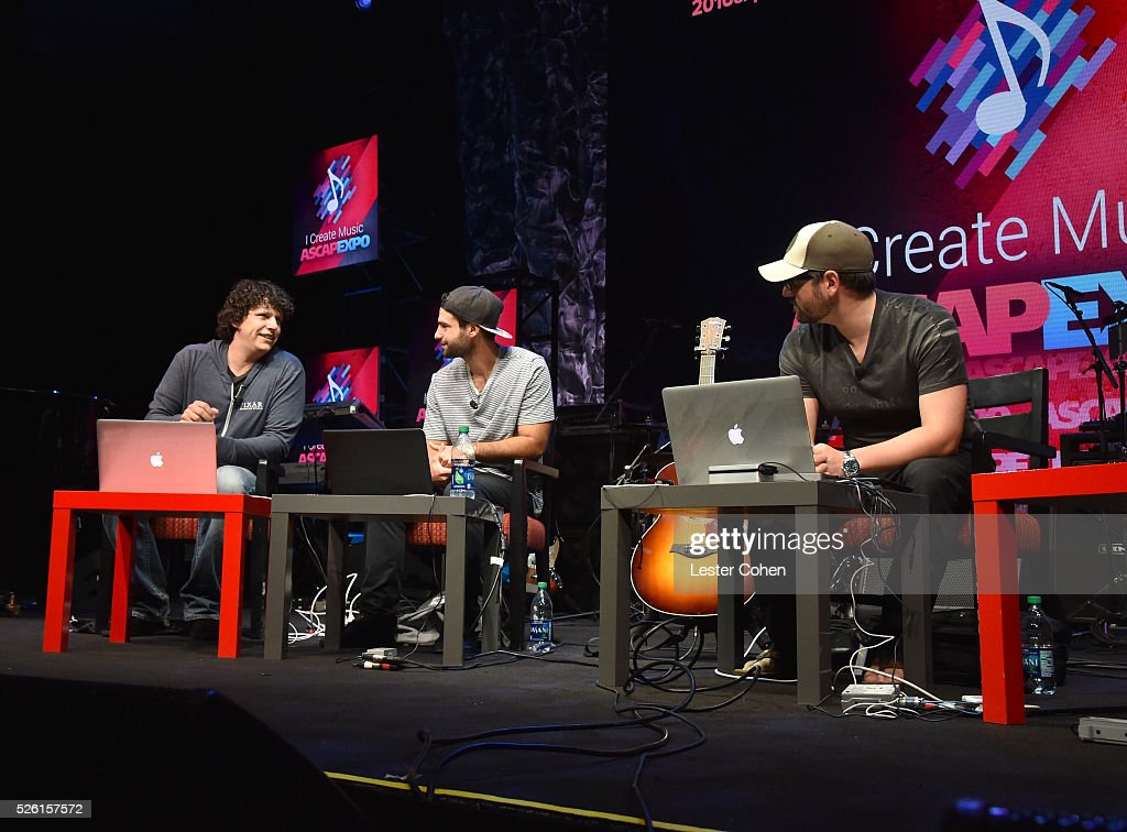Sr. Audio Engineer, Producer Daniel Rowland, Producer, songwriter Chris DeStefano and producer Andrew Cedar speak onstage at attend the 2016 ASCAP 'I Create Music' EXPO on April 29, 2016 in Los Angeles, California.