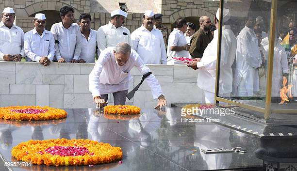 Sr Congress leader Sajjan Kumar during the prayer at Rajghat to protest against the disparaging remark made by AAP leader Ashutosh in his blog...