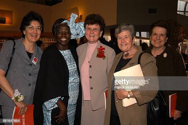 Sr Mary Galeone Dr Wangari Maathai Sister Tesa Fitzgerald Sr Yolanda Kinsella and Rosemary McGrath attend The New York Women's Foundation 2005...