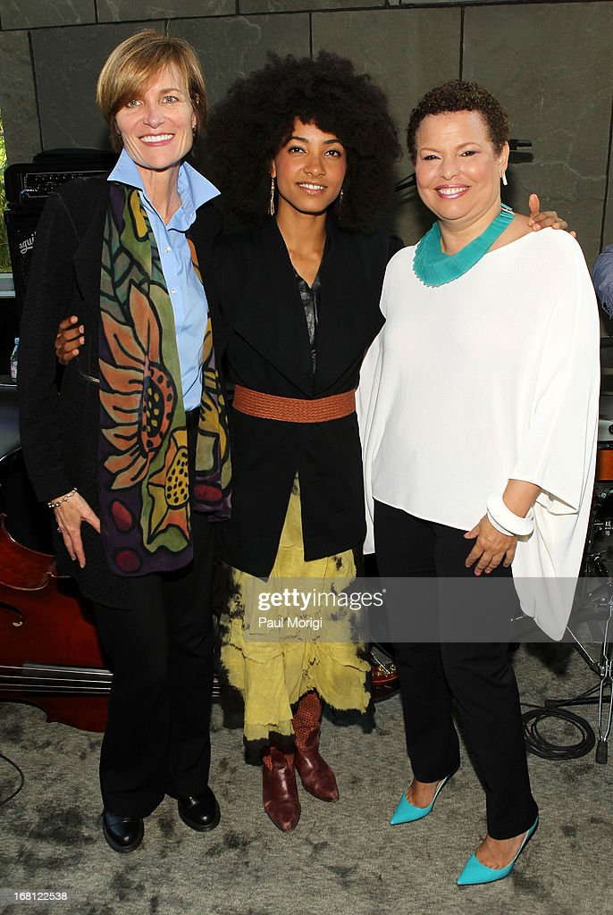 Sr. Vice President of the GRAMMY Foundation Kristen Madsen, performer and 3-time GRAMMY Award winner <a gi-track='captionPersonalityLinkClicked' href=/galleries/search?phrase=Esperanza+Spalding&family=editorial&specificpeople=4151466 ng-click='$event.stopPropagation()'>Esperanza Spalding</a> and Debra Lee, Chairman & CEO, BET Networks, pose for a photo at the GRAMMY Foundation - Debra Lee house concert with <a gi-track='captionPersonalityLinkClicked' href=/galleries/search?phrase=Esperanza+Spalding&family=editorial&specificpeople=4151466 ng-click='$event.stopPropagation()'>Esperanza Spalding</a> at Private Residence on May 5, 2013 in Washington, DC.