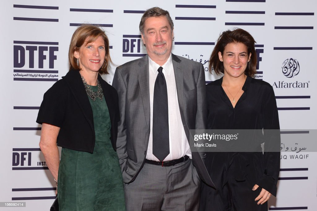 Sr. V.P., Studio Relations & Special Project TFF Patty Newburger, Director of the Tribeca Film Festival <a gi-track='captionPersonalityLinkClicked' href=/galleries/search?phrase=Geoffrey+Gilmore&family=editorial&specificpeople=791914 ng-click='$event.stopPropagation()'>Geoffrey Gilmore</a> and TFF Director of Programming Genna Terranova attend the opening night ceremony and gala screening of 'The Reluctant Fundamentalist' during the 2012 Doha Tribeca Film Festival at Al Mirqab Hotel on November 17, 2012 in Doha, Qatar.