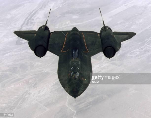 SR71b ''Blackbird'' aerial reconnaisance aircraft in headon view during a training mission February 2 1997