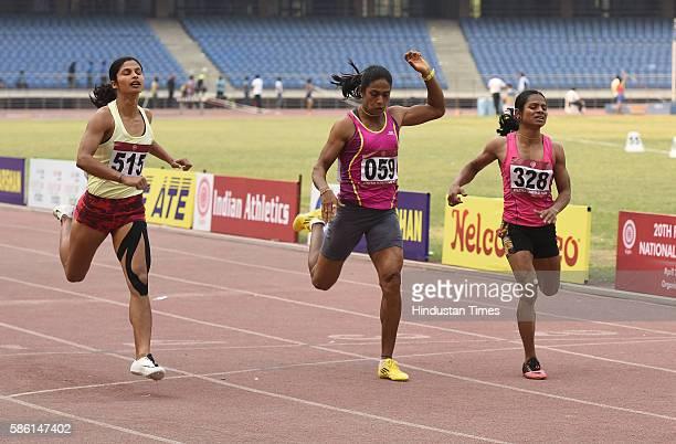 Srabani Nanda of Orisa Gold Medalist Jyothi HM of CBAN Winner Bronze Medalist Dutee Chand Orisa Silver Medalist athletes participating womens 200m...