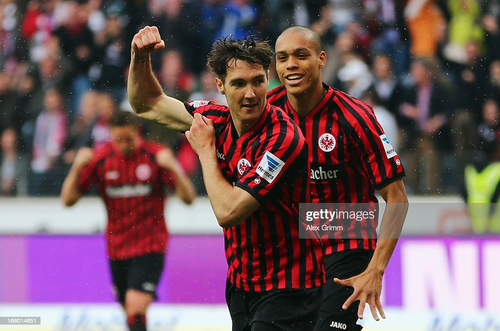 <a gi-track='captionPersonalityLinkClicked' href=/galleries/search?phrase=Srdjan+Lakic&family=editorial&specificpeople=1792938 ng-click='$event.stopPropagation()'>Srdjan Lakic</a> (L) of Frankfurt celebrates his team's second goal with team mate Bamba Anderson during the Bundesliga match between Eintracht Frankfurt and Fortuna Duesseldorf 1895 at Commerzbank-Arena on May 4, 2013 in Frankfurt am Main, Germany.