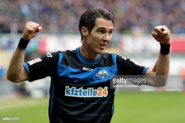 Srdjan Lakic of Paderborn celebrates after scoring his team's second goal during the Bundesliga match between SC Paderborn 07 and FC Augsburg at...