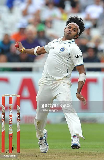 Sree Sreesanth of India bowling during day 1 of the 3rd Test match between South Africa and India at Newlands Stadium on January 02 2011 in Cape Town...