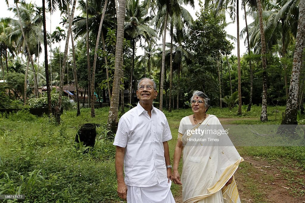 'KOCHI, INDIA - SEPTEMBER 3: E Sreedharan, former DMRC chief with his wife Radha Sreedhar at his residence on September 3, 2012 in Ponnani, India. (Photo by Arijit Sen/Hindustan Times via Getty Images)'