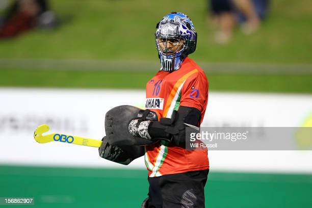 R Sreejesh of India guards the goal during the Australia v India game during day two of the 2012 International Super Series at Perth Hockey Stadium...