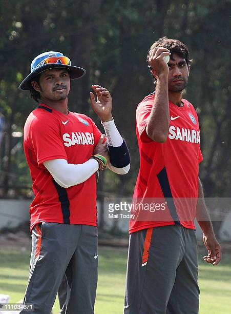 Sreesanth and Munaf Patel during a training session at The Punjab Cricket Association Stadium in Mohali on March 28 2011 India will face Pakistan in...
