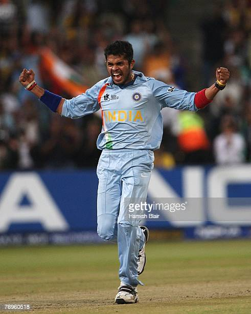 Sreesanth of India celebrates the wicket of Adam Gilchrist of Australia during the ICC Twenty20 Cricket World Championship Semi Final match between...