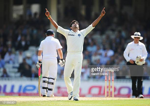 Sreesanth of India celebrates the wicket of Andrew Strauss of England during day two of the 4th npower Test Match between England and India at The...
