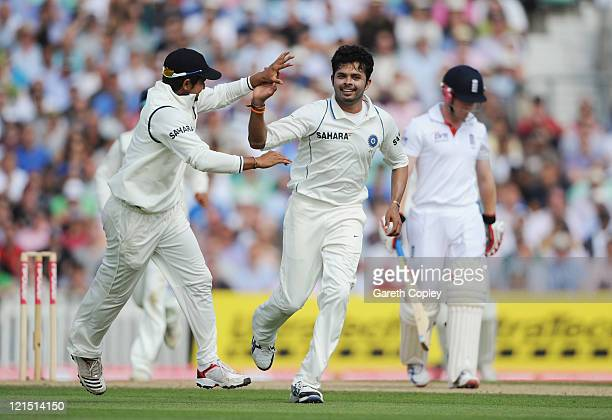 Sreesanth of India celebrates the wicket of Eoin Morgan of England during day three of the 4th npower Test Match between England and India at The Kia...