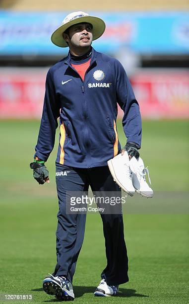 Sreesanth of India during a nets session at Edgbaston on August 9 2011 in Birmingham England